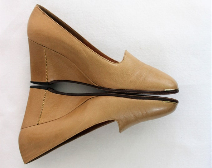 Women's Shoes size 7 1/2 N Narrow.  Casual tan leather wedge shoes with gold accents made by Joseph.