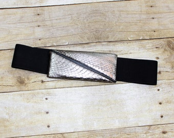 Snakeskin Belt by Abbe' Creation. Pewter Colored Snakeskin Belt Buck with Elastic belt that is removable and adjustable.