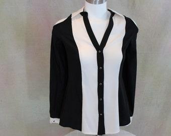 Vintage Cache Cold Shoulder Blouse.  Black and White Silk shirt Size S.