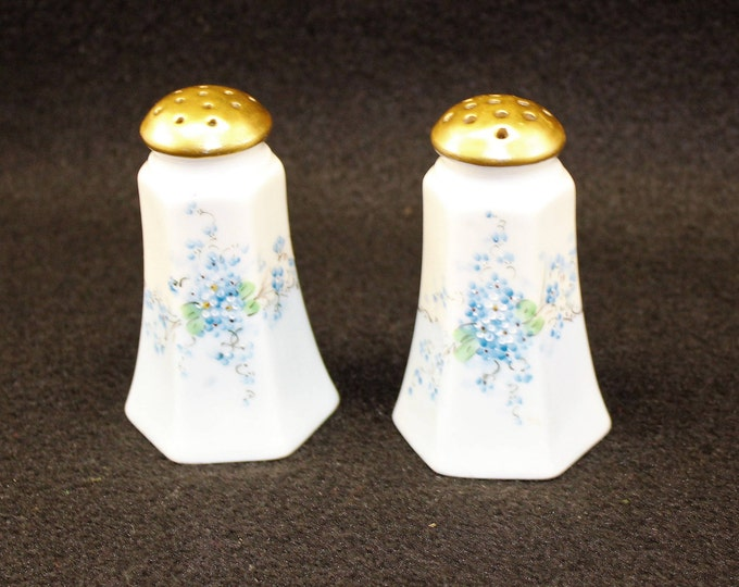 Vintage White Salt and Pepper Shakers with delicate blue flowers.  Made in Austria of fine bone china S&P shakers.
