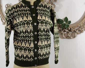 Norwegian knit sweater, silver buttons. Lillehammer circa 1960's.