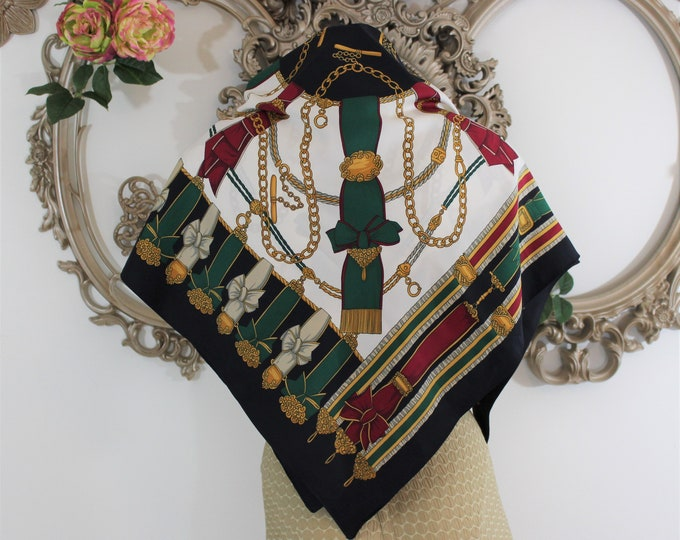 Baroque Equestrian scarf in rich gold navy red and green colors.  Large square regal scarf pattern motif of ribbons medals chains