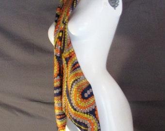 Vintage woman's tie head scarf funky vibe