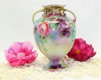 Antique Nippon hand painted vase circa 1891-1911 with Moriage details Hallmarked Noritake.  Petite vintage vase.