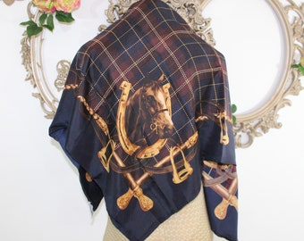 Large Silk Equestrian Scarf with Horses by Doncaster in Navy Tan Plaid.  Vintage silk dark blue square wrap or scarf.  Riding Attire.