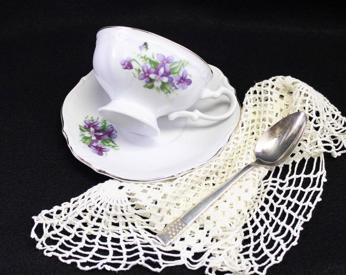 Tea Cup and Saucer with Purple Violets.