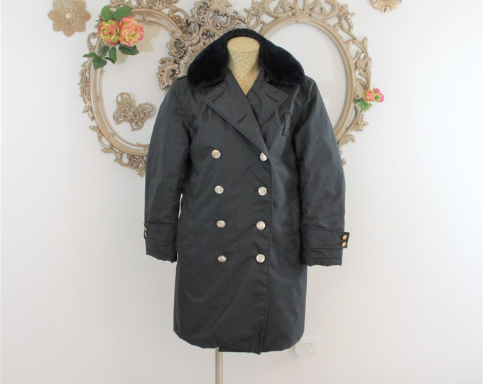 Women's Nylolite Double Breasted Coat size 12R by Blauer  made for Military or Police circa 1960's with Detachable collar
