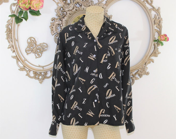 Black Silk blouse size M by Liz Claiborne. Fashion shirt with words Modern Glamour Century Style Fashion.
