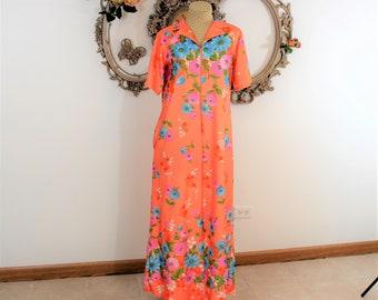 MOD Hostess Gown.  Orange floral zippered full length gown or robe.  Short Sleeved Full Length house coat.