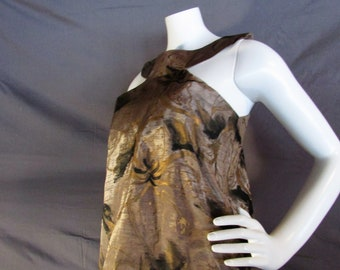 Hand painted moire silk blouse cut away halter top.