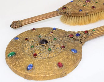 Antique Round Gold Filigree Jeweled Hand Mirror and Brush Set.  1920's art deco vanity set.  E & JB beveled mirror and brush with glass gems