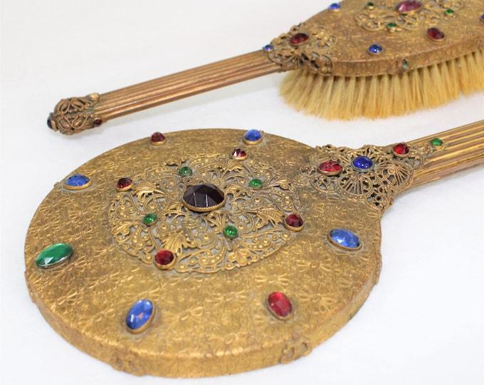 Antique Round Gold Filigree Jeweled Hand Mirror and Brush Set.  1920's art deco vanity set.  E & JB beveled mirror and brush with glass gems