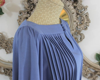 Vintage Pleated Blue Dress in Size 12 by Jenni and Lizzi with long sleeves and gold Anne Klein belt.