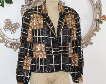 Sequin Jacket Size 8 - 10 Medium in Black Gold and Brown Plaid.  Cropped Sequin Jacket by Modi