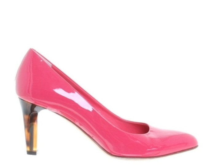 Bally Pink Pumps with Tortoise colored heel  size 7 1/2  Style: Angela  bright pink patent leather
