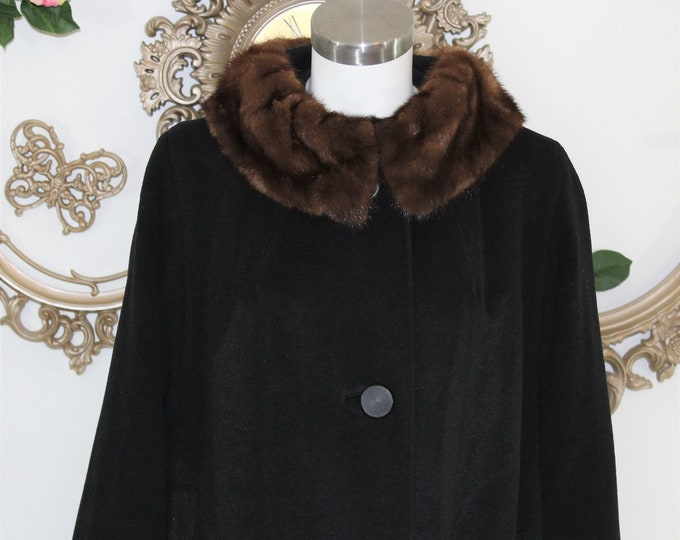 Vintage Black Coat with Mink Collar and UNIQUE Sleeves.  1950 to 1960's coat Great Condition.  Measurements Listed Size M to L