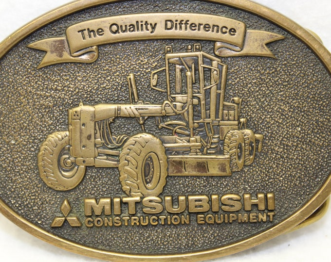 Vintage belt buckle for Mitsubishi. Metal Belt Buckle Circa 1970's, Mitsubishi Construction Equipment Belt Buckle.