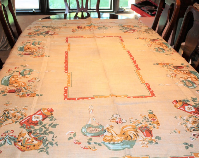 Vintage linen Tablecloth NWT by Victory No. 6222 Spice Shelf. Hand Printed Linen tablecloth size 52 x 70 unused. Original tag
