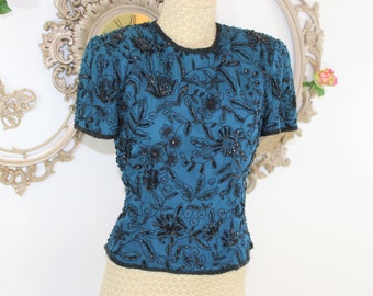 Beaded Top Size S Small.  Stenay Teal and Black Beaded Silk Top in size Small.  Fancy holiday cocktail women's top