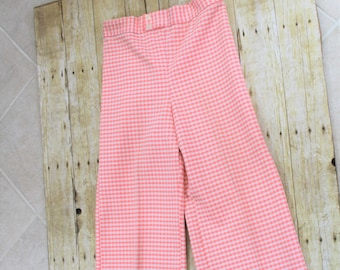 Vintage woman's polyester pants, 1960's-1970's. Gingham, disco, funk.  See measurements, size small.