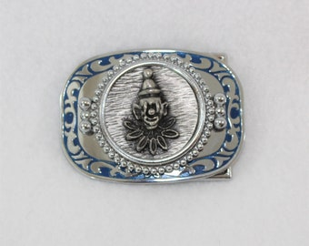 Clown Belt Buckle.  Silver Buckle with Clown Face.  Heavy Clown Belt Buckle Silver Color with Blue Trim.