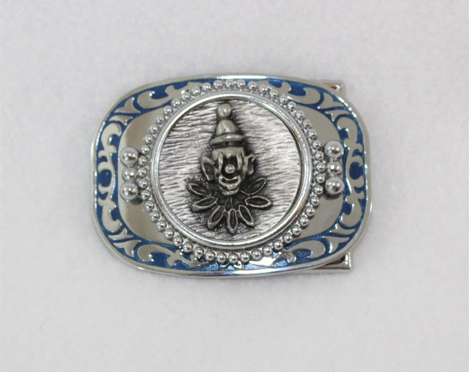Silver Clown Face Belt Buckle.  Heavy Belt Buckle with clown and Blue Trim.