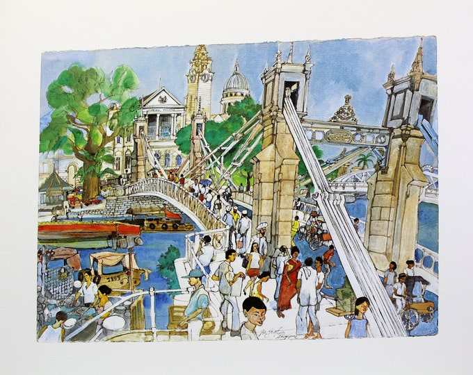 Vintage Franklin McMahon's Limited Edition Lithograph of Singapore,  1960's Singapore print, oriental 16 x 20 unframed print,