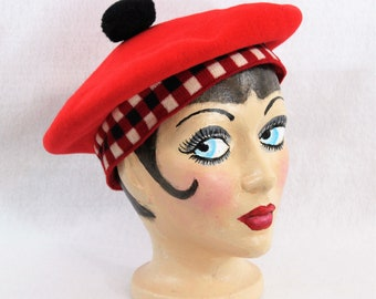 Vintage Red Tam with Red White and Blue Trim in size L.  Red Wool Beret by Parkhurst Knitwear of Canada circa 1960's.