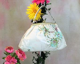 Large Vintage Purse, Fabric with clear Vinyl covering by JR Julius Resnick.  Floral print handbag by JR Miami FL handbag