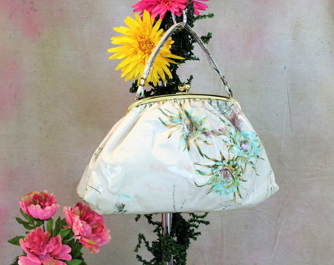 Large Vintage Purse, Fabric with clear Vinyl covering by JR Julius Resnick.  Floral print handbag by JR Miami FL handbag