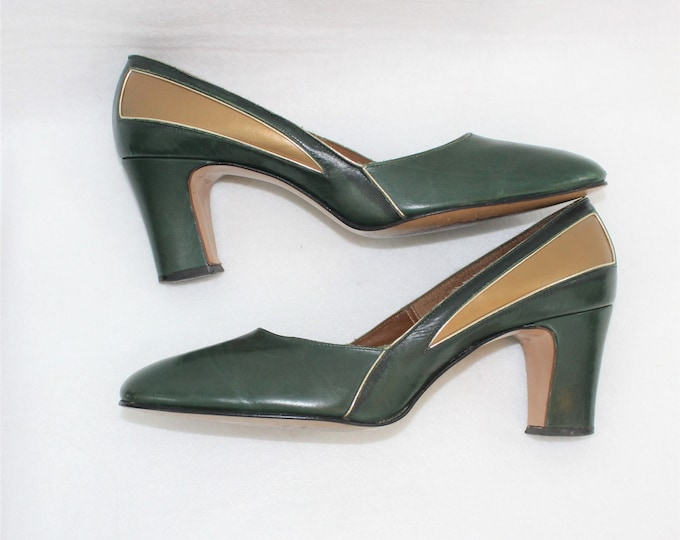 "Women's Leather Shoes. Green and Gold Leather Johansen Vintage Shoes Size 7 1/2 AA Narrow with Chunky 2 1/2"" heel"
