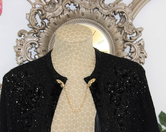 Gold Sweater Clasp with Telephones circa 1950's.  Collar clip with alligator clasps.