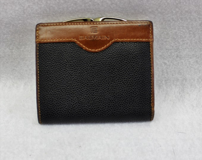 Balmain Leather Wallet. Black and Brown Leather wallet Designer wallet.