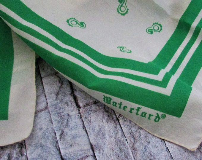 Green and Cream Square Authentic Waterford scarf.  Vintage Waterford scarf. Iconic Waterford.