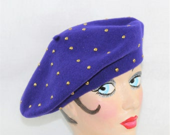 Vintage Purple Wool Beret with Gold Metal Studs.  Vintage millinery french beret.
