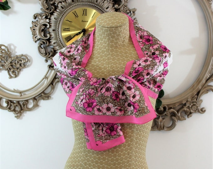 Pink floral scarf.  Long pink scarf with flowers.  Vintage Rectangle scarf pink floral.