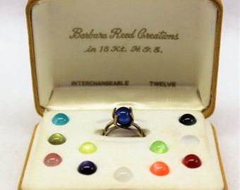 Barbara Reed Creations Vintage Ring with 12 Changeable Stones. 12 Stones ring