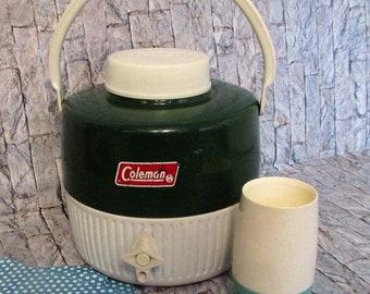 Vintage Coleman Thermos jug. Home decor 1 gallon. 1960's vintage, RV decor, photo shoot ,prop camping equipment.