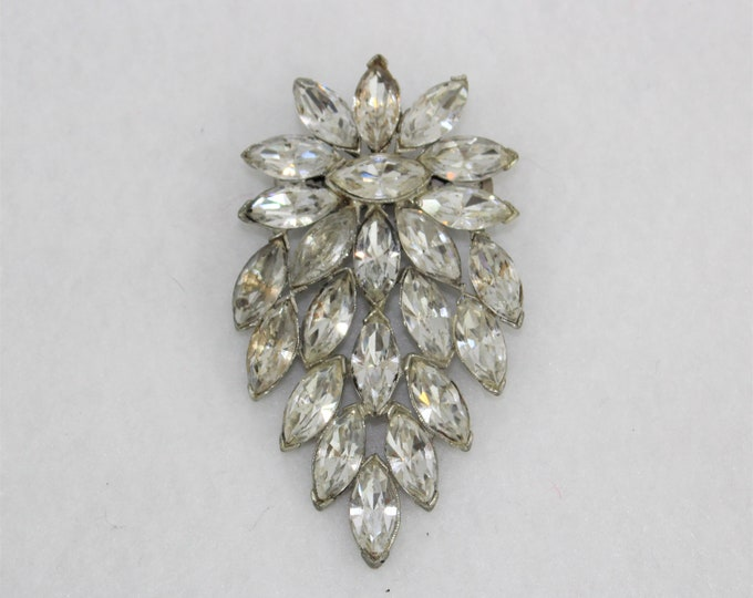 Large Rhinestone Vintage Brooch or Pin with clear glass rhinestones in Marquis shape.  Vintage Costume Jewelry Pin.