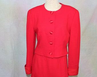 Vintage Red Suit size S by Arnold Scaasi. 1980's Designer Red Suit, Jacket and Trumpet Skirt in size Small.