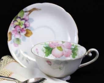 Vintage Tea Cup and Saucer Made in Occupied Japan with Hand Painted Pink and White flowers.