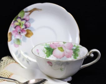 Occupied Japan Vintage Tea Cup and Saucer.  Collectible Hand Painted Pink and White teacup.  Hallmarked China.