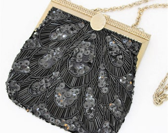 Black Beaded Evening Bag by Fine Arts.  Unique Black beaded purse with gold trim and hardware