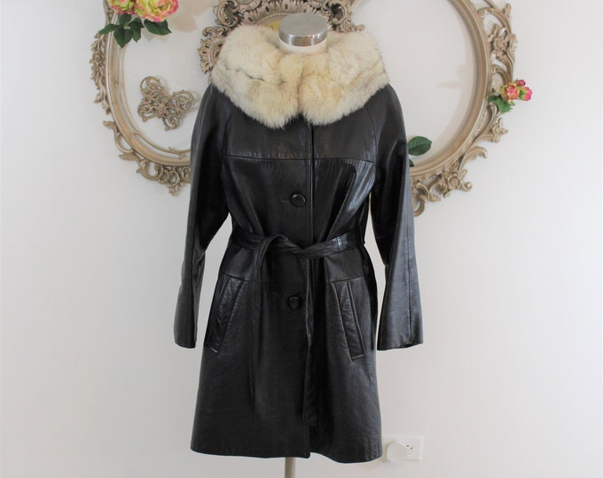 1960's Black Leather Belted Coat with White Fox Fur Collar Size 10.  MCM Ladies Coat.  Measurements Listed.