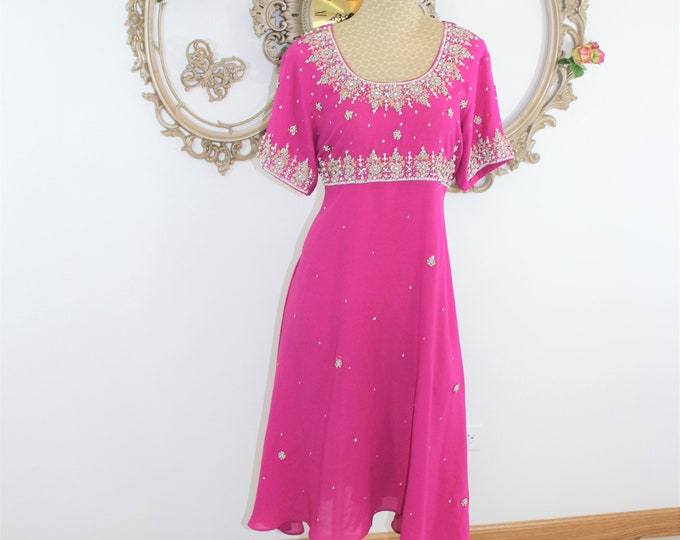 Formal Handmade Dress. Fuchsia Pink Cocktail Dress with hand beading short sleeves and empire bodice.