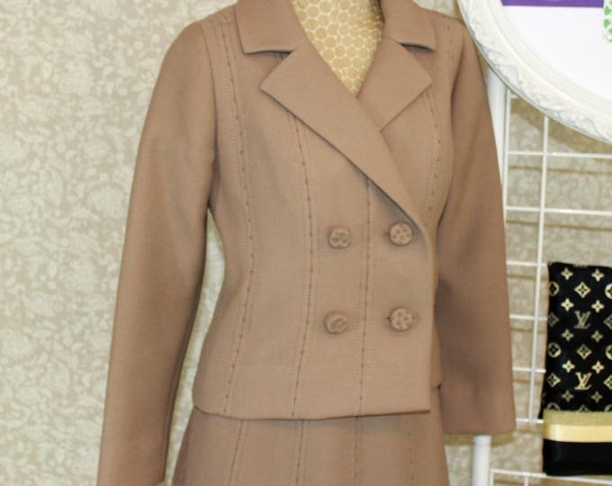 1960's French Couture Skirt Suit with hand stitching Made in Paris France.  Heavy Tan Mrs. Maisel Style