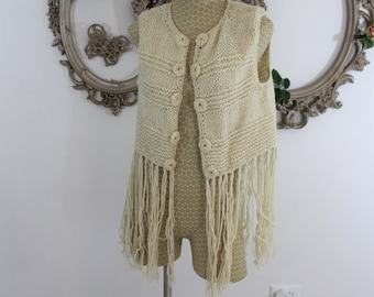 Hand knit made in Italy hippie vest Size Large by Z Layre Cream colored Hand knit buttons.