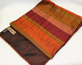Romeo Gigli Silk Scarf in Stripes of Orange Red and Olive colors.  DESIGNER Luxury neck wear.  Vintage rectangle unisex Scarf.