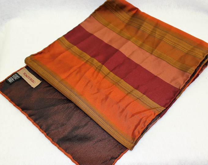 Romeo Gigli Designer Striped Silk Scarf in Orange Red and Olive colors.  Luxury neck wear.  Vintage rectangle unisex Scarf.