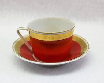 Red and Gold Tea Cup and Saucer marked Hollohaza Hungary.  Demitasse Espresso Small Tea Cup set.